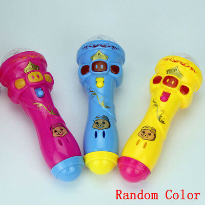 LED Light Flashing Projection Microphone Torch Shape Baby Kids Children Toy Gift