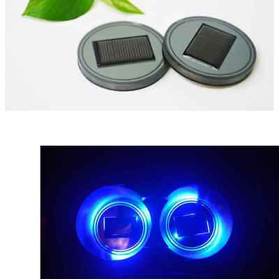 2pcs Solar Powered LED Cup Holder Car SUV Bottom Pad Mat Cover Trim Lamp Blue
