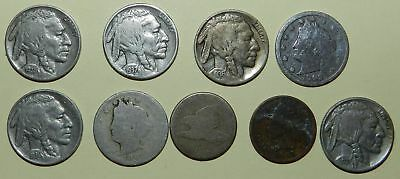 U.S.A.  9 OLD COINS - Liberty & Buffalo Nickels, Indian & Eagle Cent