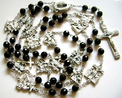 CATHILIC Black Agate Beads Fourteen bitter road Rosary Cross Lourdes Water MEDAL