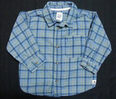 Baby Gap Boys Long Sleeve Button Down Shirt Blue Plaid Corduroy Size 18/24 Month