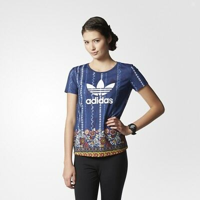 37320b01379d adidas Originals Women s Cirandeira T-Shirt Floral Print Navy and Multi  Colour
