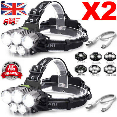 100000LM 5x T6 LED Headlamp Rechargeable Headlight Lamp Flashlight Head Torch!