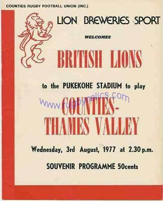 BRITISH LIONS  v COUNTIES-THAMES VALLEY PROGRAMME *RARE* 3rd August 1977