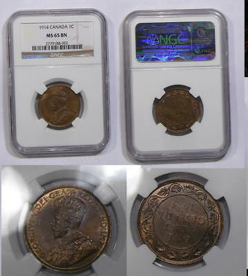 1914 Canada Cent Ngc Ms65 Bn Some Red Inv#344B-10