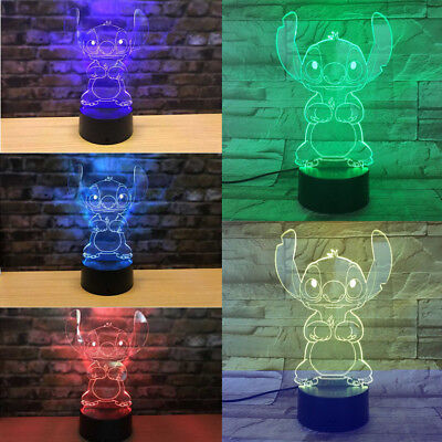 USA 3D Cartoon Stitch Night Light 7 Color Change LED Desk Lamp Touch Room Gift