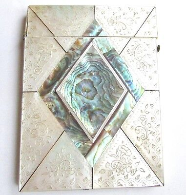 Victorian / Edwardian mother of pearl & abalone calling card case