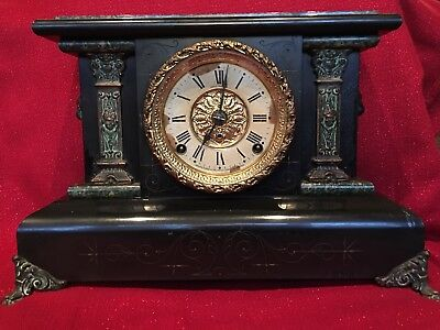 Antique Seth Thomas Clock Co Adamantine Mantel 8 Day T & S Complete Running