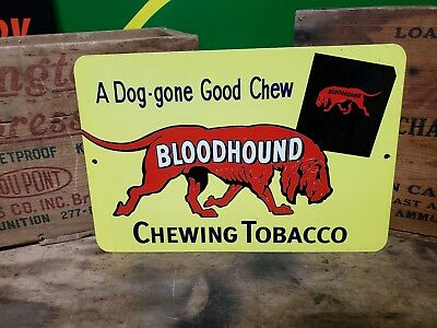 Bloodhound chewing tobacco sign  A dog gone good  Chew  Cigarets