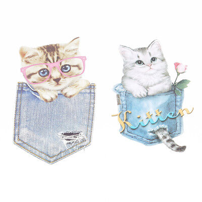 Cat Embroidery Sew Iron On Patch Badge Fabric Bag Clothes Applique Craft DIY Z