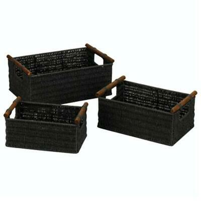 Home Essentials ML-7052 Paper Rope Large Basket  Black - Set of 3
