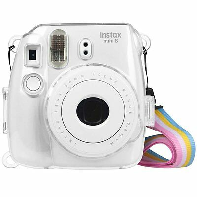For Fujifilm Instax Mini 8 /8+/9 Instant Camera Clear Carry Case Strap Bag Cover