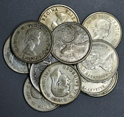 1920-1967 CANADIAN QUARTERS 25c  LOT OF 12  80% SILVER COINS FV $3.00  B1238