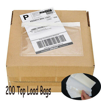 "200 7.5"" x 5.5"" Clear Adhesive Top Loading Packing List Label Envelopes Pouches"