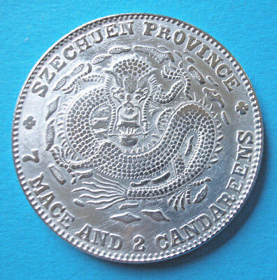 China Dragon-Dollar Szechuen Emperor Xuantong 1909-1911 Medaille 39 mm