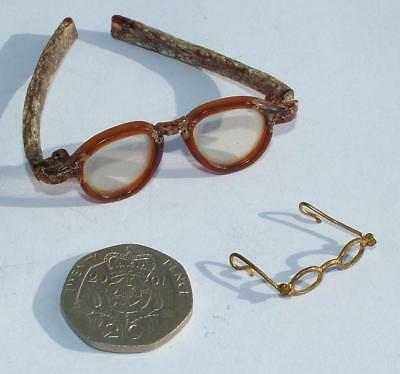 2 x PAIRS OF ANTIQUE DOLLS HOUSE MINIATURE SPECTACLES GLASSES BRASS & CELLULOID
