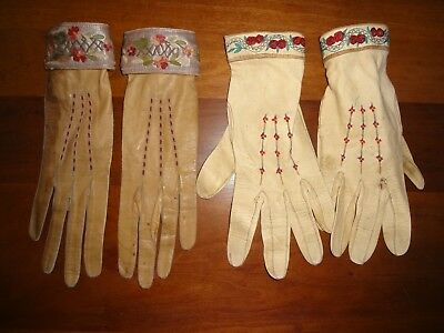 Vintage Art Deco Edwardian kid leather embroidered glove lot as is xs repurpose