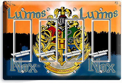 Harry Potter Lumos Nox Hogwarts Coat Of Arms 4 Gfci Lightswitch Wall Plate Decor