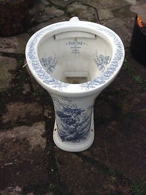 Puritas Antique Victorian Toilet White With Blue Flowers