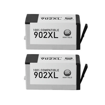 2Pk 902XL Black Ink Cartridge for HP OfficeJet Pro 6960 6970 6968 6958 6975 6974