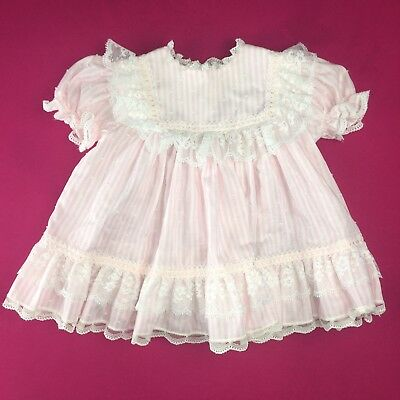 Vintage Baby Girl's Pink Stripe Embroidery Lace Trimming 24 Months
