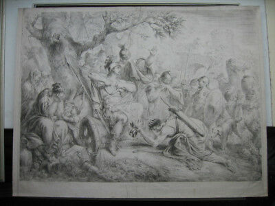 Radierung von C. B. Rode: König David & Krone Sauls 1780/Etching Crown of Saul