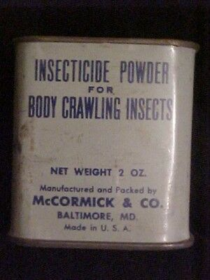 vintage collelctible advertising mccormick tin insecticide powder body insects