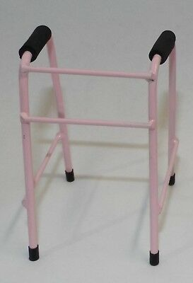 Dollhouse miniature handcrafted Medical walker metal 1/12th scale Pink