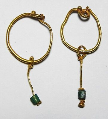 Zurqieh - As8576- Ancient Roman Pair Of Gold Earrings.  200 - 300 A.d