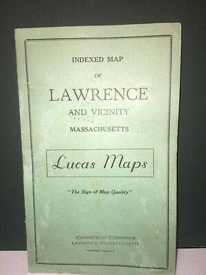 Indexed Map Of Lawrence Massachusetts And Vicinity Vintage 1940!