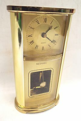 Vintage METAMEC Brass Carriage Battery Operated CLOCK Made in England - W64