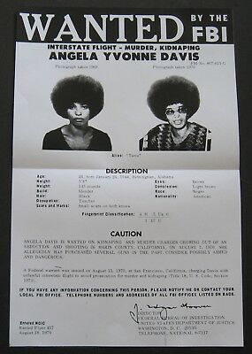 Angela Davis - 1970 Fbi Most Wanted Poster - Black Panther Party - Civil Rights