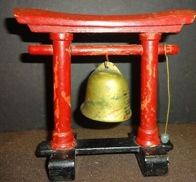 VTG MCM Old Chinese Painted Brass Bell w/ Hammer Mallet & Wood Stand Scholar