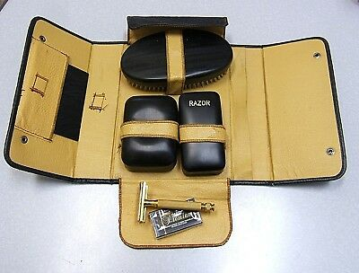 Vintage Travel Grooming Set with Gold Plate Gillette TECH DE Safety Razor