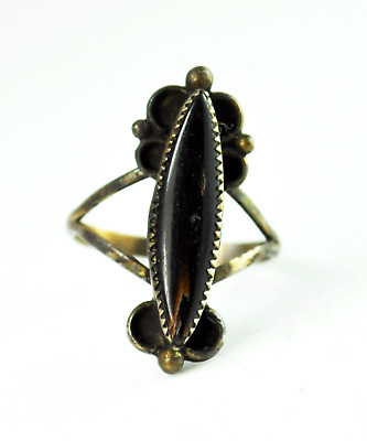 Sterling Silver Black Amber Ellipse Antique Handcrafted Ring 26mm Size 7