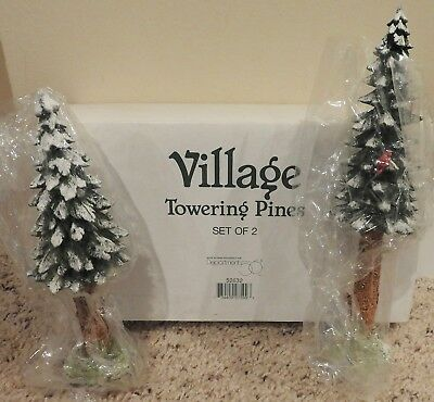 Dept 56 Village Accessories Set Of 2 Towering Pines