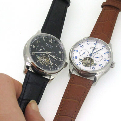 43mm Parnis Automatic Movement Men's Casual Watch Stainless Case Leather Strap