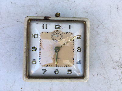 Vintage Westclox Square Alarm Clock for Parts Repair Runs Missing Parts