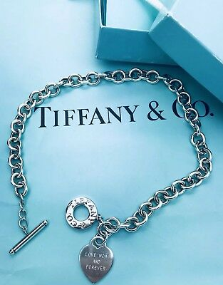 "Tiffany & Co Sterling Silver Heart Toggle Charm Choker ""Love Forever"" Necklace"