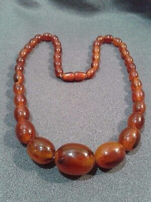 "Vintge Art Deco Swirled Root Beer Bakelite Graduated Bead Necklace 24"" -Tested!"