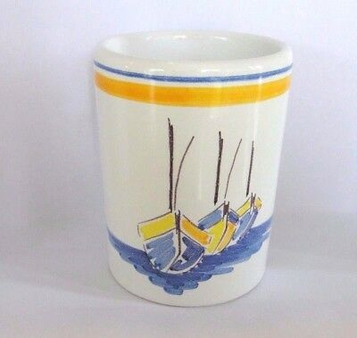 "HENRIOT QUIMPER  ""Escale"" Sailboats Pencil Bathroom Cup    4"" Tall"
