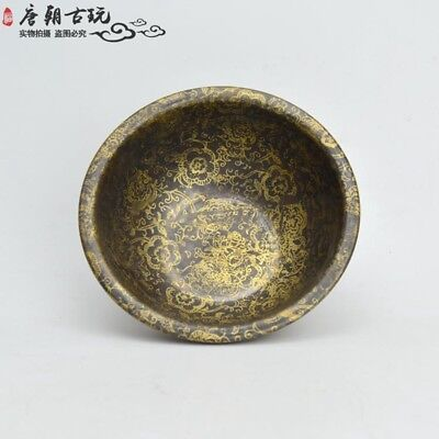 Chinese antique copper dish with rich and full flower pattern pure copper bowl.