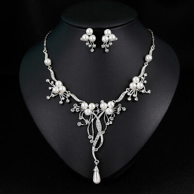 Fashion Rhinestone Faux Pearl Necklace Earrings Women Wedding Jewelry Set Little