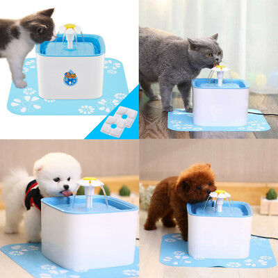 Automatic Water Fountain Dish Dispenser For Pet Cat Dog Water Drinking Bowl 2.5L