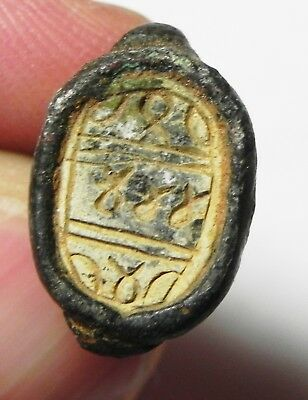 Zurqieh - As8603- Ancient Egypt. New Kingdom Scarab Seal With Silver Handle.