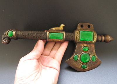 Old Chinese Fengshui Bronze inlay Green Gem Exorcism hatchet tomahawk Axe