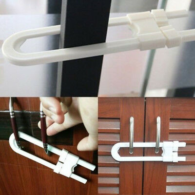 Useful Baby Safety U Shape Lock Security For Cabinet Cupboard Door Drawer EY