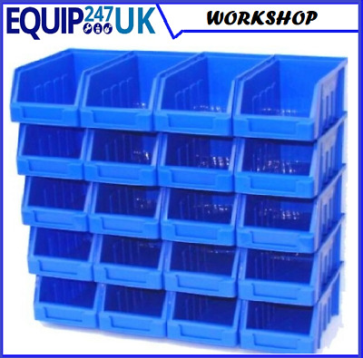 20 Blue Size 2 Stacking Storage Bins Plastic Parts Bins