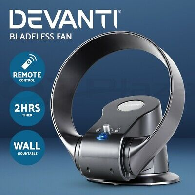 Devanti Bladeless Fan Cooling Wall Mount Desktop Fan Remote Control 2H Timer