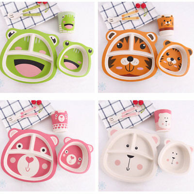 5Pcs/Set Dinner Kids Baby Cute Breakfast Lunch Fork Spoon Bowl Plate Cup